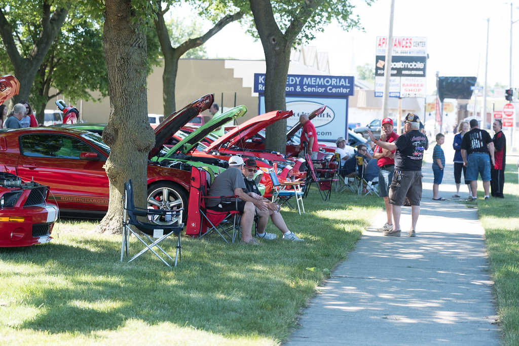 . Mustangs filled Memorial Park in Lincoln Park Saturday morning. Despite several cities urging cruisers to stay home, the 18th Annual Cruisin\' Downriver kicked off Saturday morning. Photos by Matt Thompson for The News-Herald