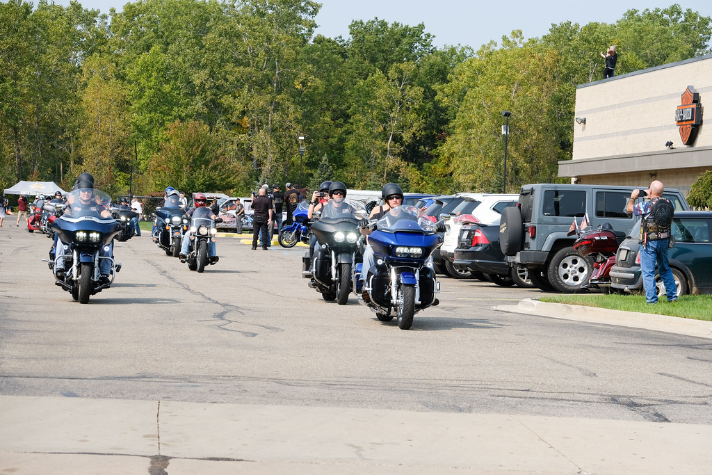 . More than 400 motorcycles gathered at Biker Bob\'s Harley Davidson in Taylor for the 2nd Annual Trooper Chad Wolf Memorial Ride, in honor of the Michigan State Trooper who died while on duty two years ago. Photos by Matt Thompson for The News-Herald