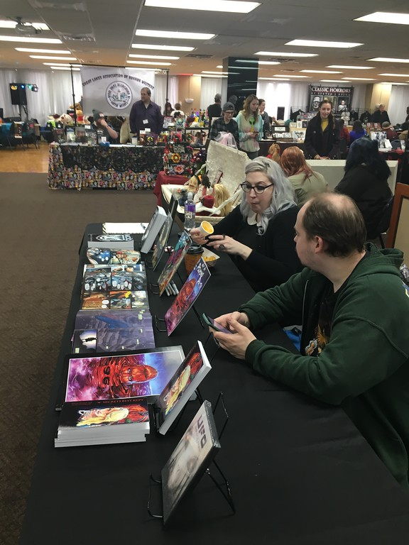 . Downriver residents were among the hundreds who packed into the Commonwealth Center in Jackson for the annual Blood Bash horror convention on Feb. 17, 2018.  Artist Misty Bondy, author Stefani Manard, both of Wyandotte and videographer Scott Maiale were among those who took in the festivities.  Dave Herndon - The News-Herald