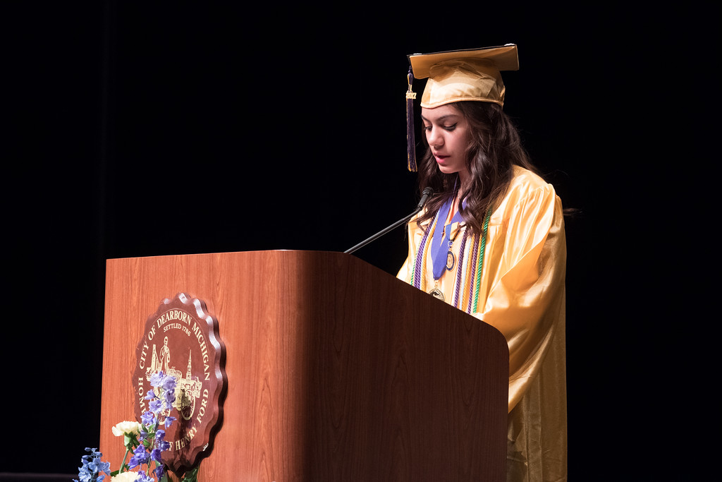 . Kimberly Olivo-Marrero is the 2017 valedictorian at the Academy for Business and Technology in Melvindale, which held its 2017 Commencement at the Ford Community and Performing Arts Center in Dearborn on Tuesday June 13. Photos by Matt Thompson for The News-Herald