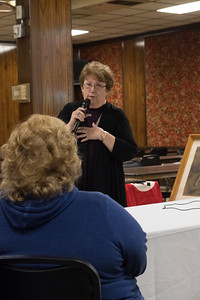 Suzanne Downing brought artifacts to the Allen Park American Legion Post 409 Wednesday night, collected during WWII by her father, Chaplain Major Horace Hartsell, while serving in the Army under General George Patton. Photos by Matt Thompson - For The Nees-Herald.