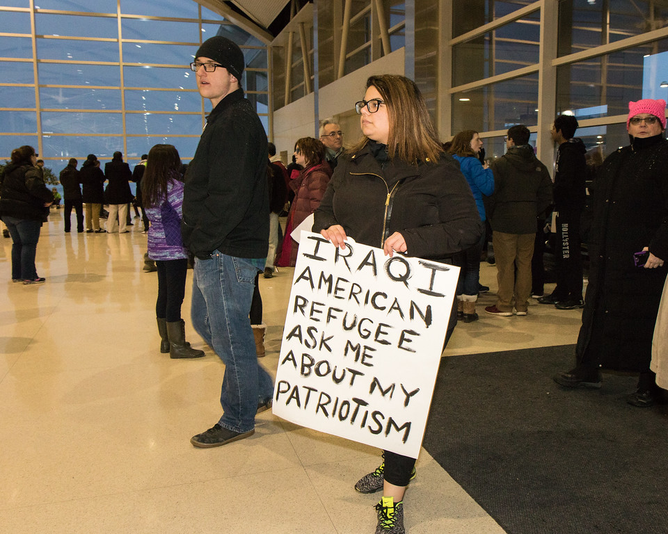 . Serveral groups partnered to organize local protests agains President Donald Trump\'s immigration ban. One such protest took place across several areas at Detroit Metro Airport on Sunday, January 29, 2017 and had huge turnout. Photo by Debbie Malyn for the News Herald and Digital First Media.