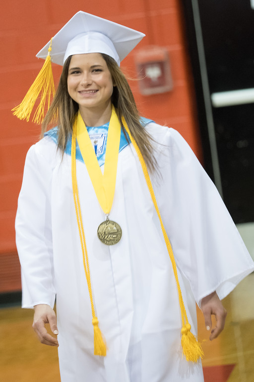 . Class Valedictorian Kirstie Barnes was all smiles as she walked in to commencement. Huron High School held their 2017 Commencement on Friday, June 2 in the school gymnasium. Photos by Matt Thompson for The News-Herald