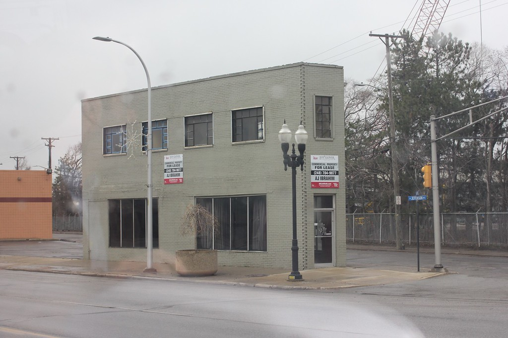 . The architecturally unique flatiron building, 10692 Jefferson, 1,550 square feet, built in 1933, is available for lease. Sue Suchyta � For The News-Herald