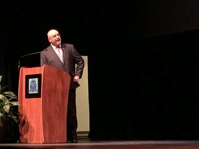 Mayor Rick Sollars, school Supt. Ben Williams, County Executive Warren Evans and Larry Wright from the Taylor Rotary Club were the keynote speakers during the annual Taylor State of the City address. Dave Herndon - The News-Herald