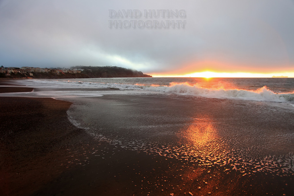 Golden Sunset Wave Crashing<br /> Baker Beach, CA