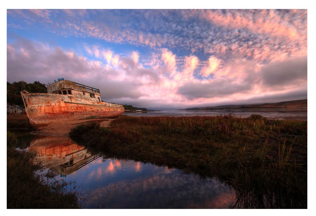 Point Reyes Boat Sunrise HDRf