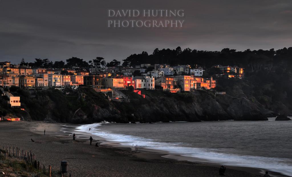 Sunset Reflecting on Baker Beach Houses (HDR)