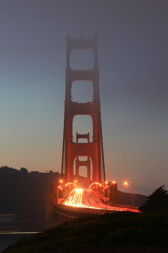 Dusk on the Golden Gate Bridge