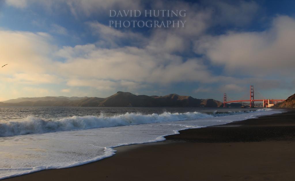 Golden Gate Bridge Foggy Sunset View<br /> Baker Beach