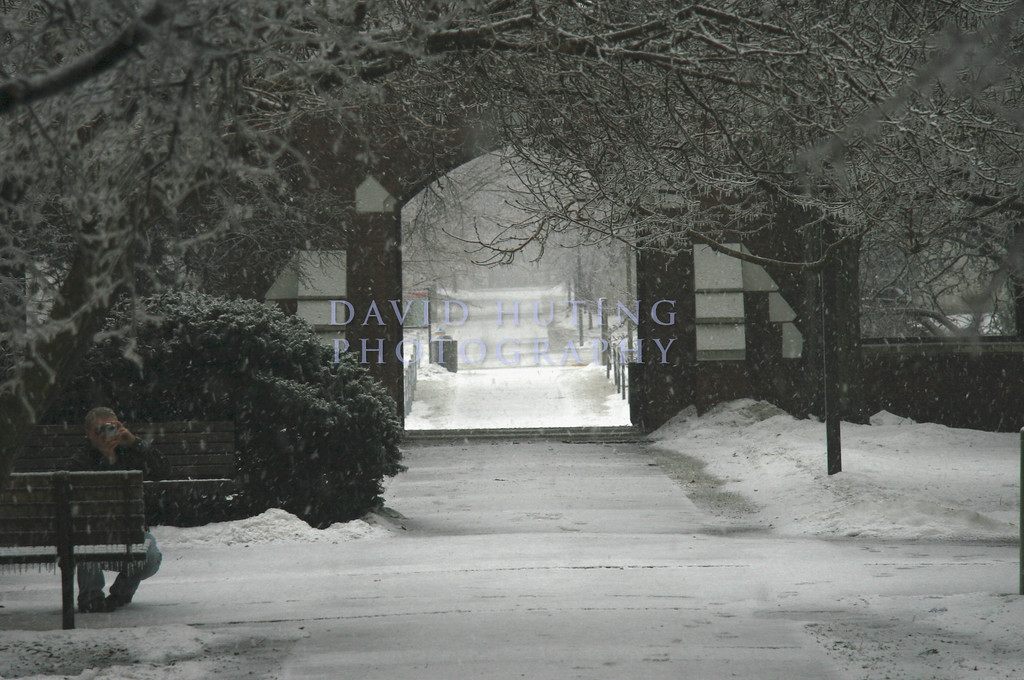 The Snowy Courtyard at Lagomarcio Hall.