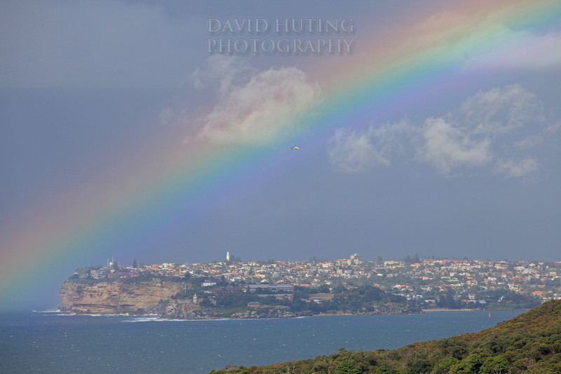 Rainbow & Helicopter - South head zoomed