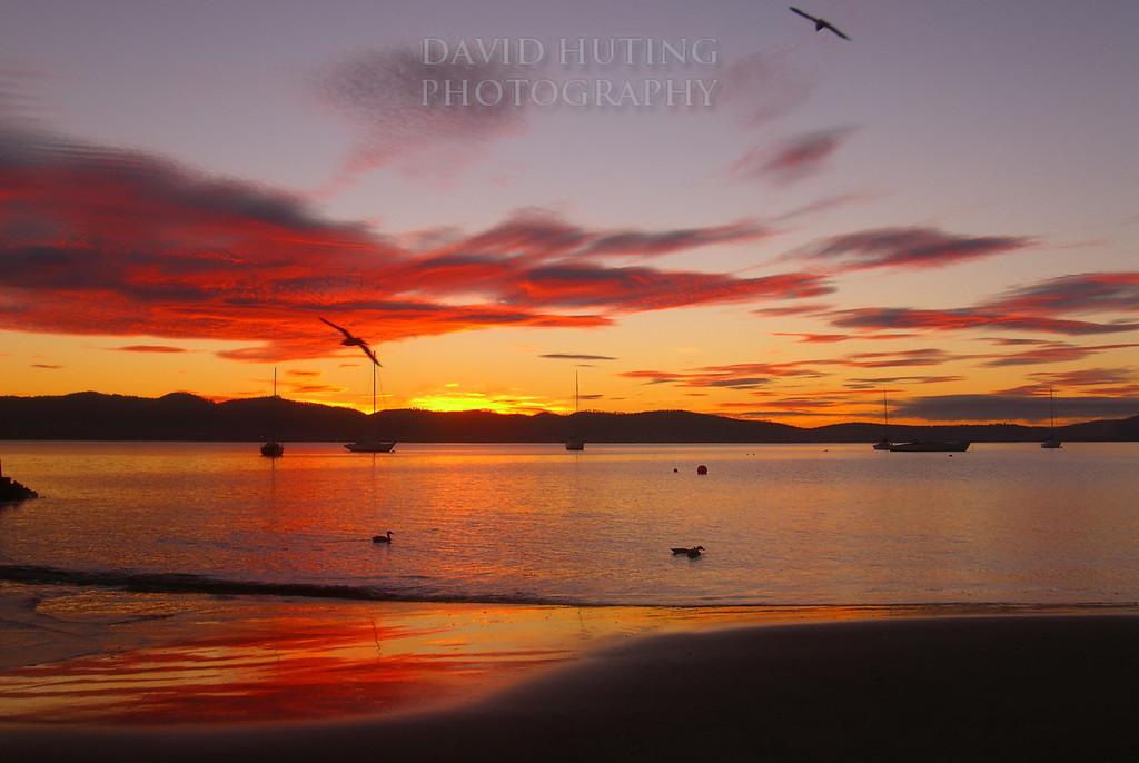 Colorful Red Skies for Sunrise<br /> Hobart, Tasmania