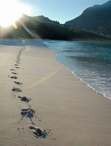 Footsteps on Wineglass Bay, Tasmania