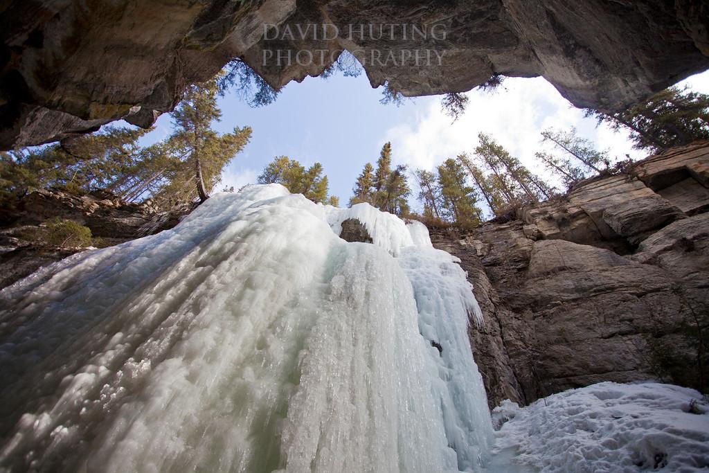 Looking up at frozen falls - horizontal