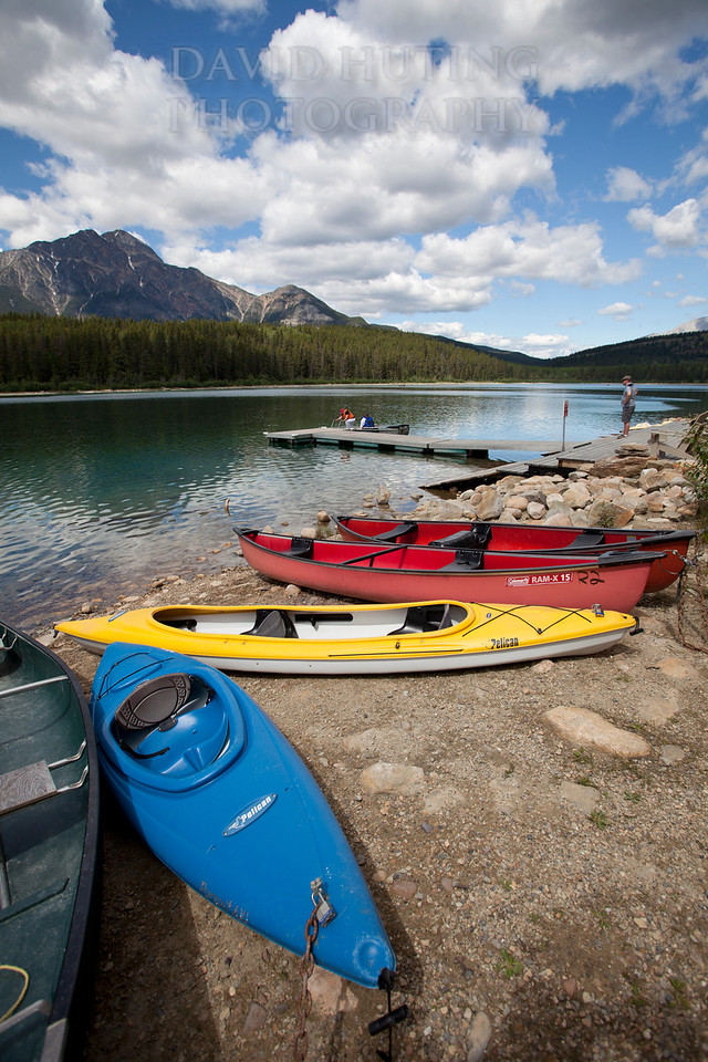 Colorful Canoes Lake View