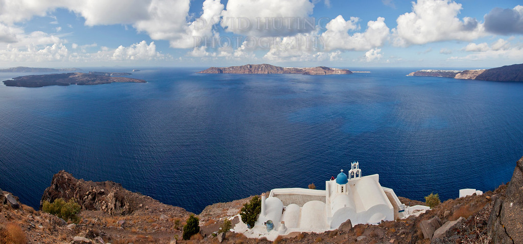Coastal Greek Islands Church Panoramic
