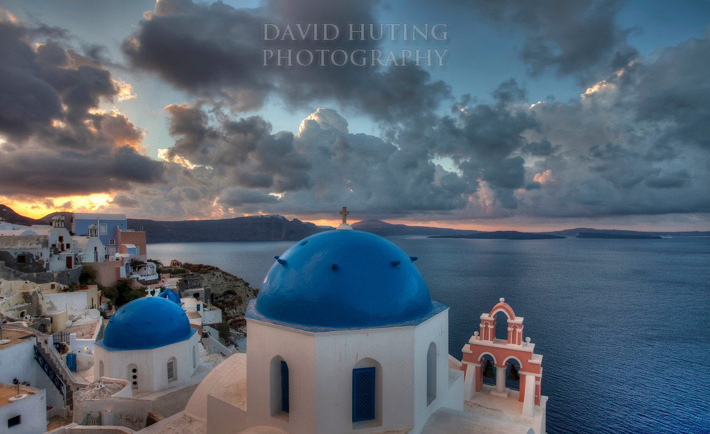 Oia Blue Domes Sunrise HDR