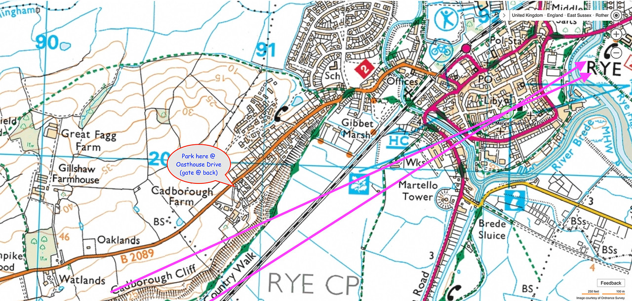 5) Ordnance survey map contour lines shows the top of the valley with a good view.
