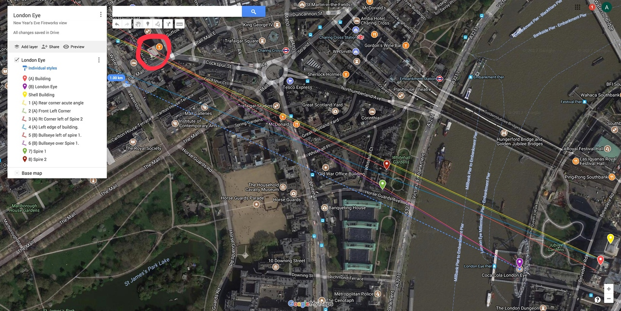 Overview - Distance to target (in red) = 1.0 km