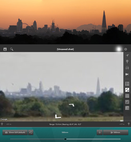 5) The Photos matched, therefore I found the location!!!  It requires a 500mm lens or a 400mm +1.4x TC (560mm).