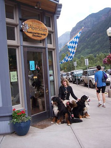 Mary Dawn with Smokie and Schlappi outside Alpen Schatz