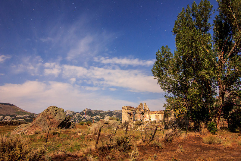 Ruins in City of Rocks during a full moon.