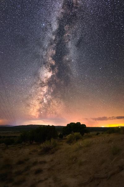 Milky Way Persieds and Lightning Storm