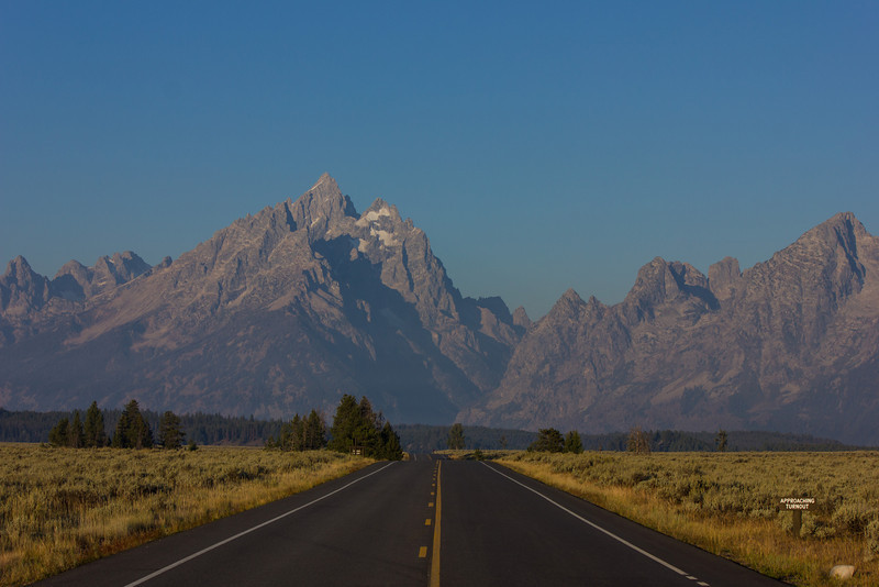Driving towards Grand Tetons