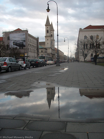 University Church with refelction in puddle