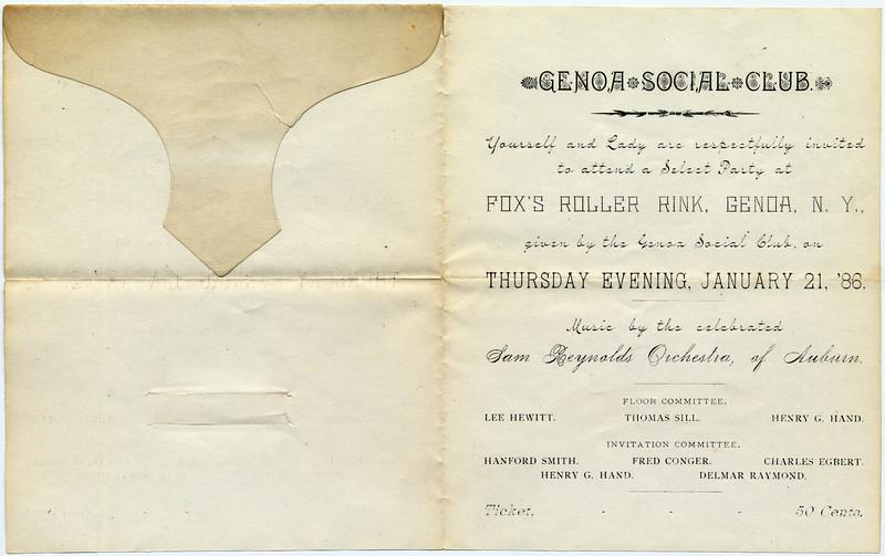 Genoa Social Club invitation to a party on January 21st, 1886. (Photo ID: 34360)