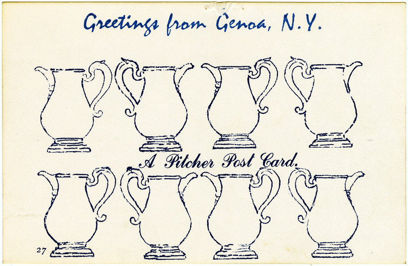 Greetings from Genoa, NY. A pitcher post card. (Photo ID: 50483 d)