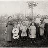 Goose Street School, June 13, 1913. Back row: Caro S. Coner (teacher), Raymon Cowan, Harold Saxton, Floyd Detzer, Eunice Harris, Lexora Upson. Front row: Bradley Swarthout, Leontine Swarthout, Irene Saxton, Maude Harris. (Photo ID: 29622)