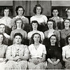Genoa School. First Row: Hazel Meeker, Loris Kenyon, Marjorie Detzer, Nancy Redman, Joan Tyrrell. Second Row: ? Clark, Virginia Rogers, Betty Dayton, ?, Esther Mastin. Third Row: Lois Clark, Eula Wilbur, Hazel Larson, Elsie Grisamore, Dorothy York. (Photo ID: 45232)