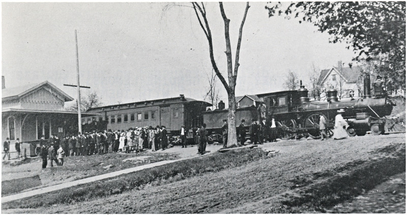 Genoa railroad station on August 16, 1909 with a special excursion party. (Photo ID: 38296 a)