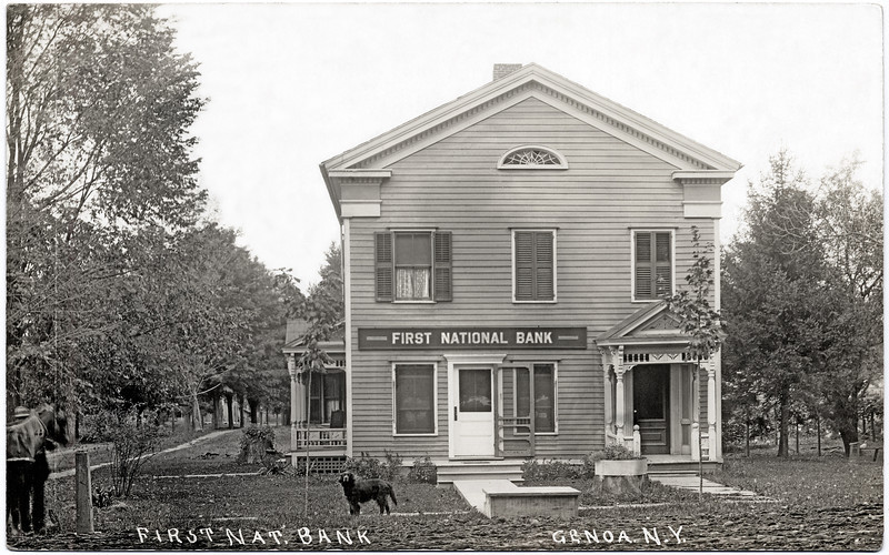 First National Bank of Genoa; corner of Maple and MainSt. The building was intentionally burned in 1989. (Photo ID: 27935)