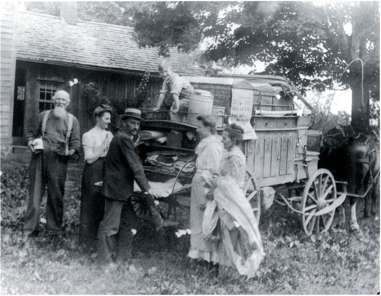 Warren Saxton with his two horses and wagon. Warren was a local peddler of groceries, dry goods, etc. in Venice, Genoa and Scipio. Photo Courtesy of Joan Walrad. Warren was Joan's Uncle. (Photo ID: 39188)