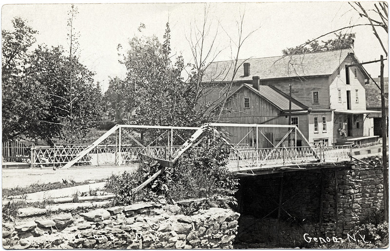 Salmon Creek; Bridge and Hoxie's Mill where Fire House stands in 2009. (Photo ID: 27923)