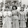 First row: Hazel Larson, Loris Kenyon, Mary Sullivan, Elsie Grisamore.  Second row: Joe Burns, Jack Coulson, John Milliman, Dave Beckley, David Nesbitt, Jim Shaw, Charles Bower, Mr. Clement (teacher) (Photo ID: 45229)