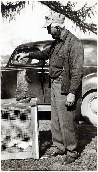 Lyman Gulick and his pet woodchuck.  Lyman is the great grandfather to Greg Bower of Genoa. (Photo ID: 36558)