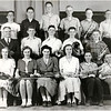 Genoa High School. First Row: Lois Starner, Marian Beckley, Mary Grobenly, Marjorie Detzer, Donald Stuard, Dick Ford. Second Row: Mr. Myers (teacher), Jim McDermott, Orville Burgman, Merle Wilson, Gerald Minturn. Third Row: Allen Westmiller, William Flynn, Ronald Smith, Ken Larson, James Rogers, Charles Bower. (Photo ID: 45230)
