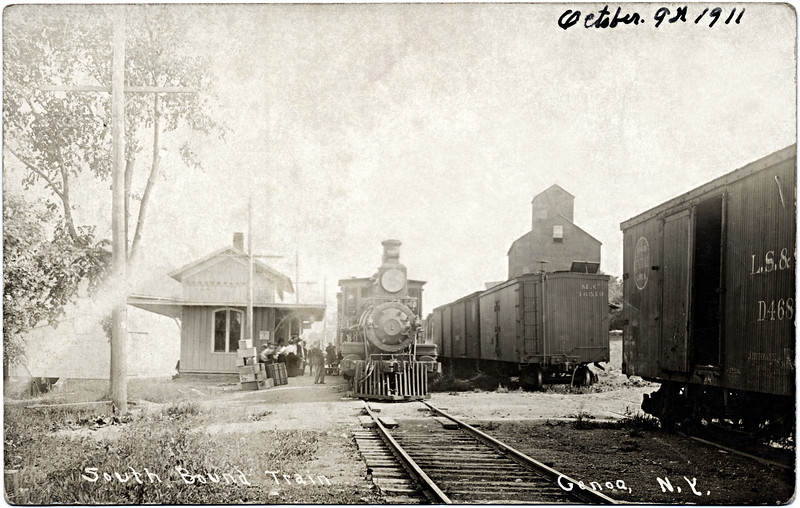 Genoa South Bound Train Engine 1. This is the North side of Route 90 where the town barn is currently. October, 9th 1911. (Photo ID: 27959)