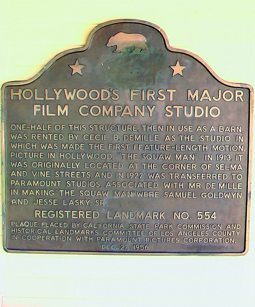 Lasky Demille Barn plaque - early Paramount