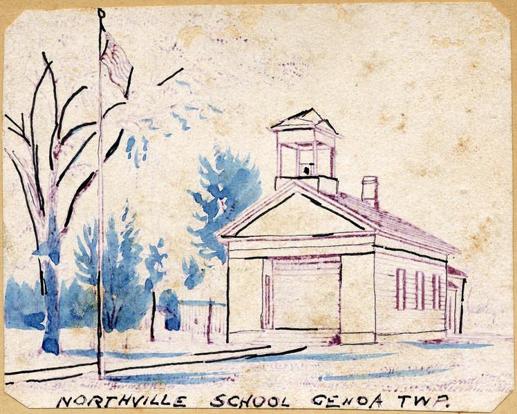 Northville School drawing 1896-97. (Photo ID: 29049)
