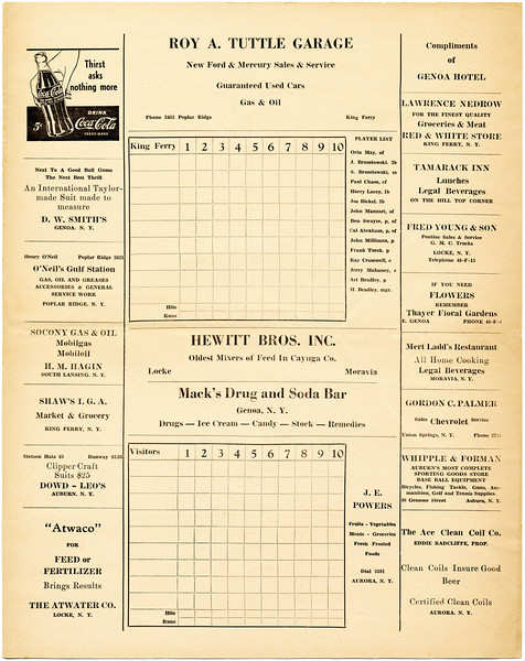 King Ferry Little Giant's baseball score card. (Photo ID: 28987)