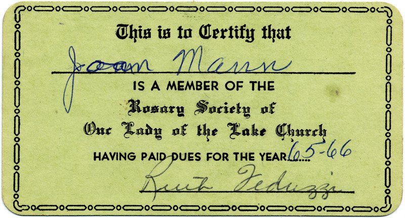 Joan Mann is a member of the Rosary Society 1965-66. (Scan ID: 30453)