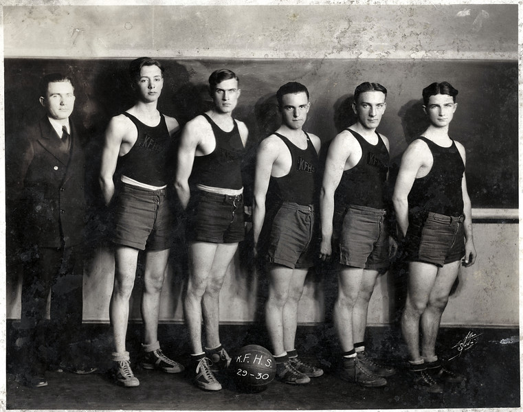 1929 - 30 King Ferry Basketball team. Ernest Frier, Bob Breachy, Herbert VanNess, Dave Meyers, Steve Hunt and Harrey Dempsey. (Photo ID: 49512)