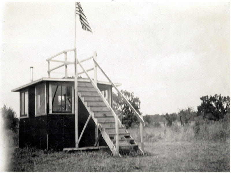 Foreign airplane watch station located in the back of the King Ferry Central School during World War II. 1941 - 1942. (Photo ID: 36239)