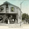 Aikin's store and Post Office in King Ferry, North West corner. L-R Mrs. Art Judge and behind, her daughter Harriet, Jenny Councell, Joe Dempsey, Uncle Earl Buckhout, Stanley Aikin, and Charles Cruuoch. Circa.1900. Courtesy of Francis Cahalan. (Photo ID: 28126)
