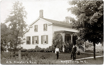 J.G. Atwater residence., 2 houses west of King Ferry Post Office; where Orin May family once lived, note roof on building. (Photo ID: 27786)